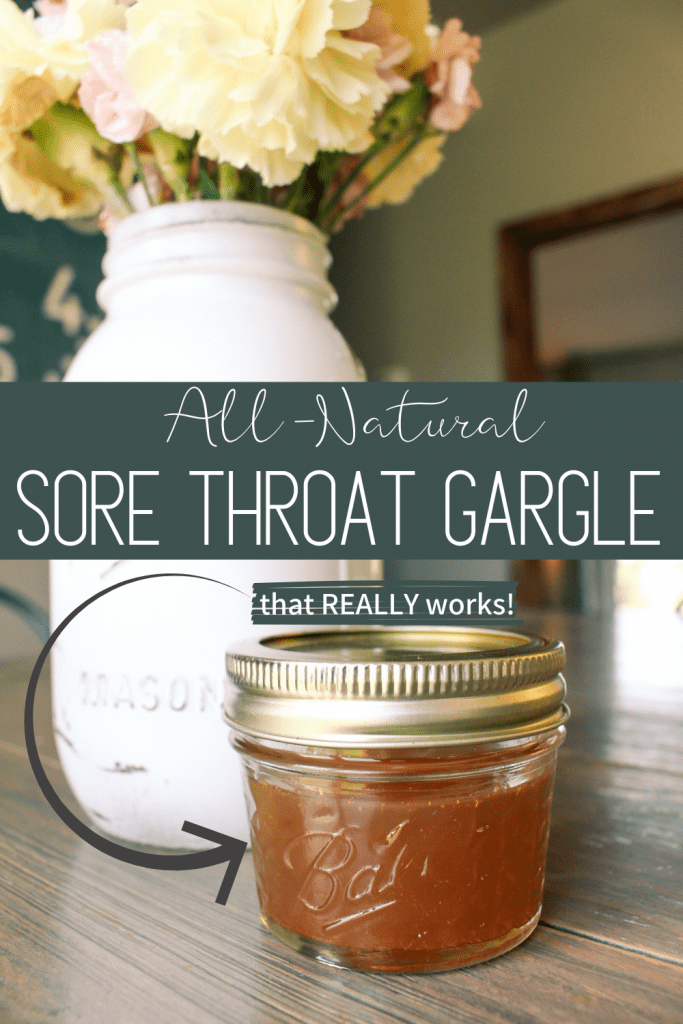 all-natural sore throat gargle that really works pinterest graphic